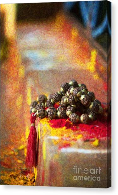 Serenity Prayer Canvas Print - Temple Rudraksha Beads by Tim Gainey