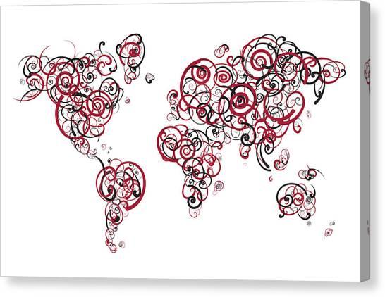Temple University Canvas Print - Temple University Colors Swirl Map Of The World Atlas by Jurq Studio