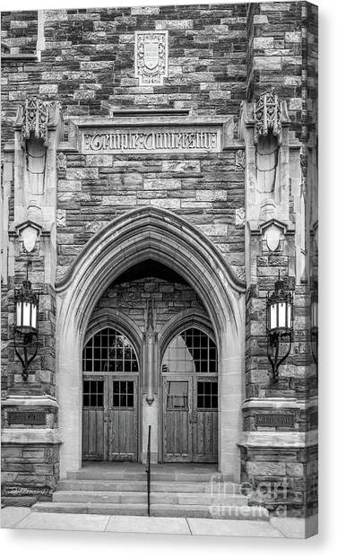Temple University Canvas Print - Temple University Mitten Hall by University Icons