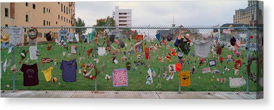 Chain Link Fence Canvas Print - Temporary Memorial For 1995 Oklahoma by Panoramic Images