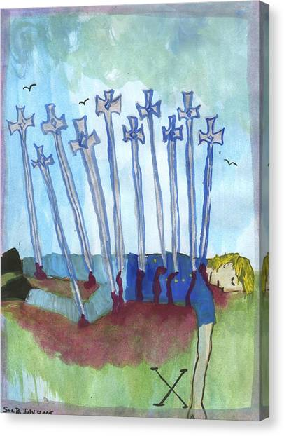 Ten Of Swords Illustrated Canvas Print by Sushila Burgess