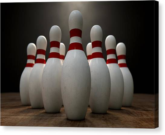 Bowling Pins Canvas Print - Ten Pin Bowling Pins by Allan Swart