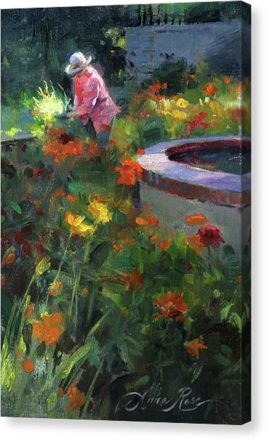 Dahlias Canvas Print - Tending The Dahlias by Anna Rose Bain