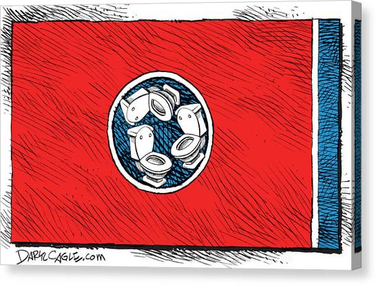 Canvas Print featuring the drawing Tennessee Bathroom Flag by Daryl Cagle
