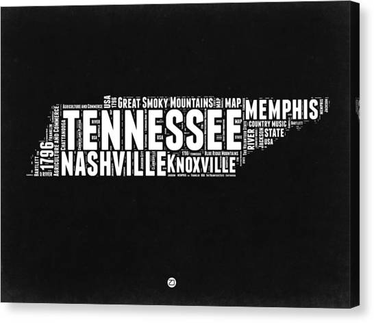 Nashville Canvas Print - Tennessee Black And White Word Cloud  Map by Naxart Studio