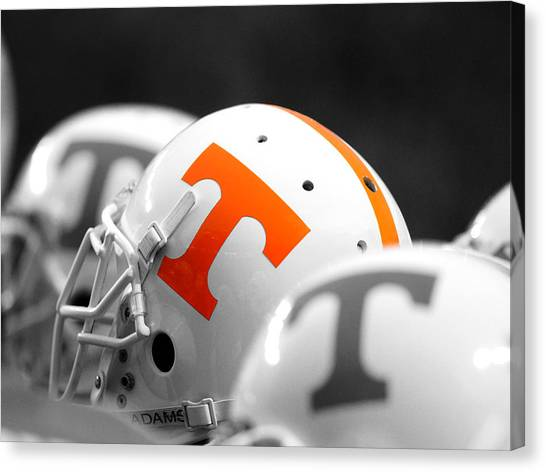 Sec Canvas Print - Tennessee Football Helmets by University of Tennessee Athletics