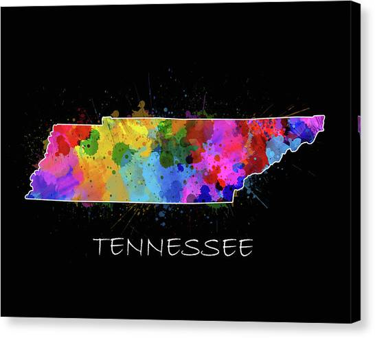 Nashville Predators Canvas Print - Tennessee Map Color Splatter 2 by Bekim Art