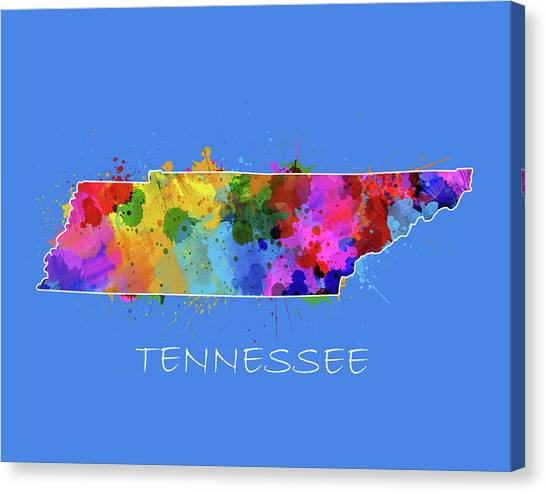 Nashville Predators Canvas Print - Tennessee Map Color Splatter 3 by Bekim Art