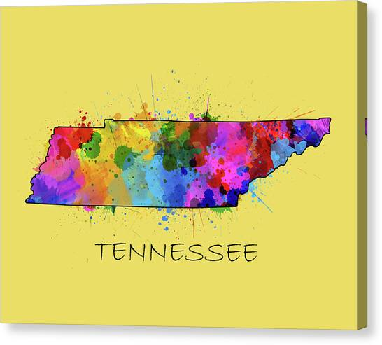 Nashville Predators Canvas Print - Tennessee Map Color Splatter 4 by Bekim Art