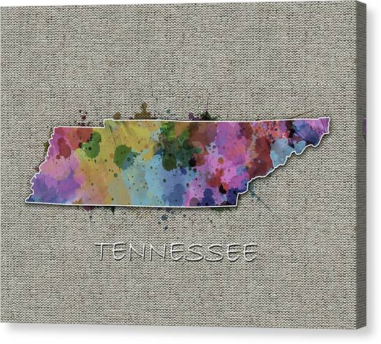 Nashville Predators Canvas Print - Tennessee Map Color Splatter 5 by Bekim Art