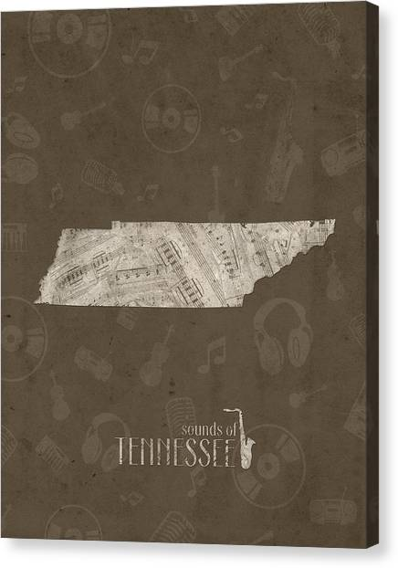 Nashville Predators Canvas Print - Tennessee Map Music Notes 3 by Bekim Art
