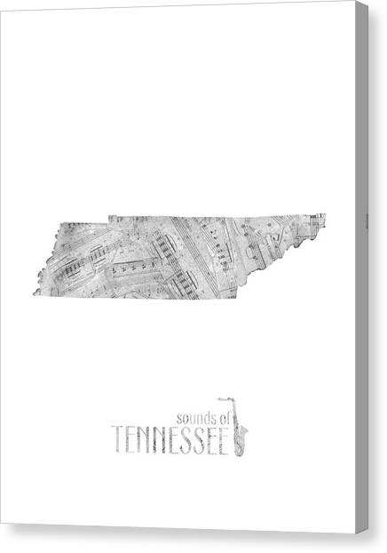 Tennessee Titans Canvas Print - Tennessee Map Music Notes by Bekim Art