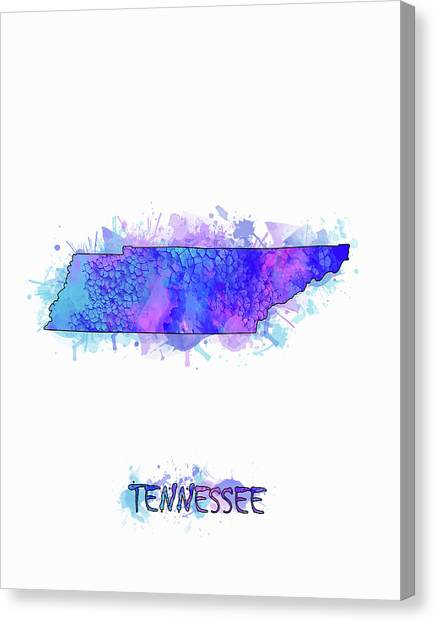 Nashville Predators Canvas Print - Tennessee Map Watercolor 2 by Bekim Art