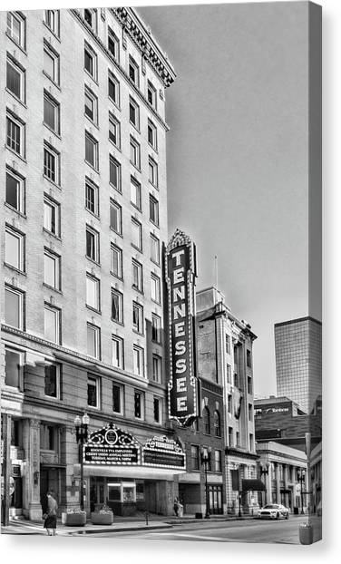 Tennessee Theatre Marquee Building Black And White Canvas Print