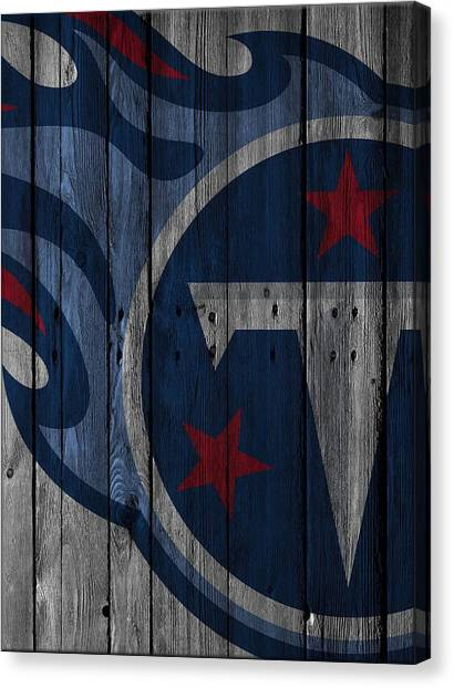 Tennessee Titans Canvas Print - Tennessee Titans Wood Fence by Joe Hamilton