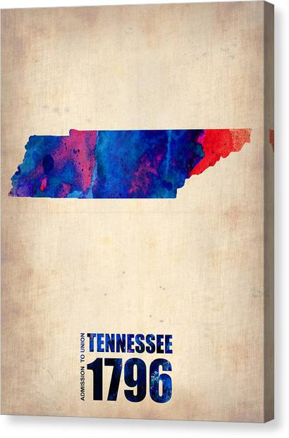 Tennessee Canvas Print - Tennessee Watercolor Map by Naxart Studio