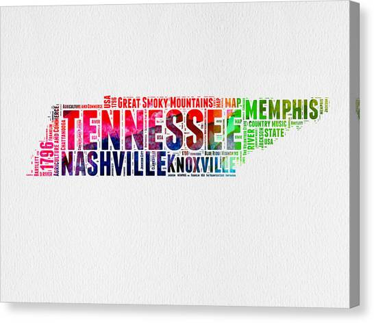 Nashville Canvas Print - Tennessee Watercolor Word Cloud Map  by Naxart Studio