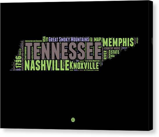 Nashville Canvas Print - Tennessee Word Cloud Map 1 by Naxart Studio