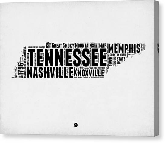 Nashville Canvas Print - Tennessee Word Cloud Map 2 by Naxart Studio