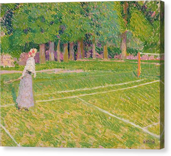 Tennis Racquet Canvas Print - Tennis At Hertingfordbury by Spencer Frederick Gore