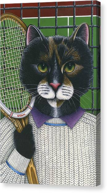 Tennis Racquet Canvas Print - Tennis Cat by Carol Wilson