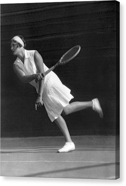Tennis Racquet Canvas Print - Tennis Champion Kitty Godfree by Underwood Archives
