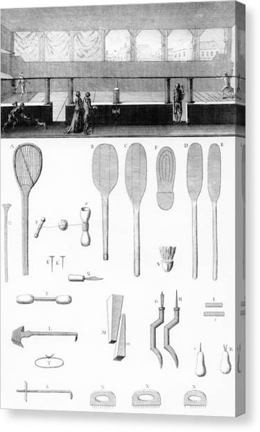 Tennis Racquet Canvas Print - Tennis Court And Rackets by French School