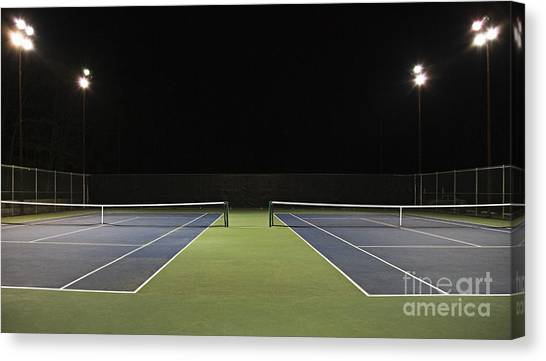 Chain Link Fence Canvas Print - Tennis Court At Night by Ben Sandall
