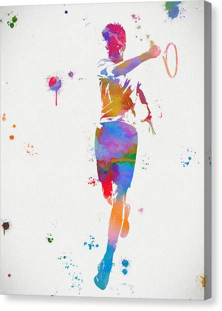 Roger Federer Canvas Print - Tennis Player Paint Splatter by Dan Sproul