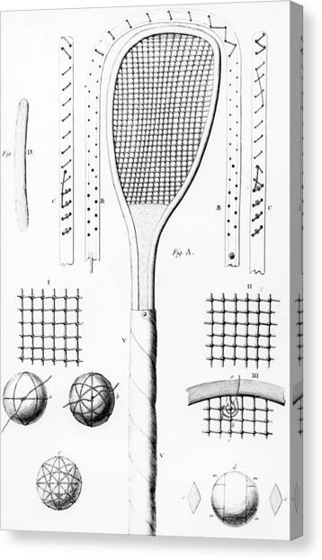 Tennis Racquet Canvas Print - Tennis Racket And Balls by French School