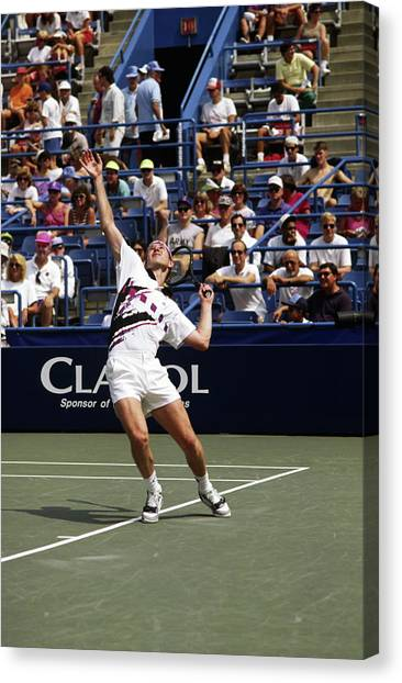 John Mcenroe Canvas Print - Tennis Serve by Sally Weigand