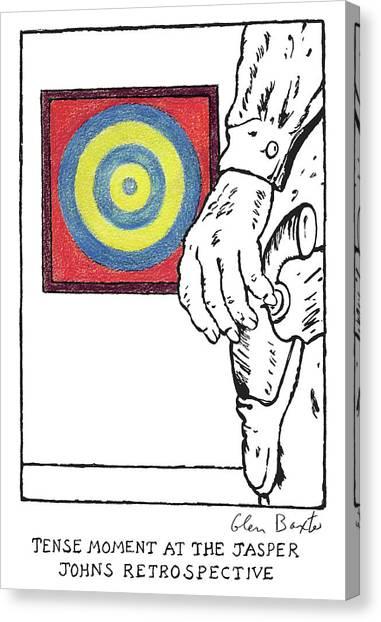 Jasper Johns Canvas Print - Tense Moment At The Jasper Johns Retrospective by Glen Baxter