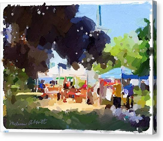 Tents And Church Steeple At Rockport Farmers Market Canvas Print