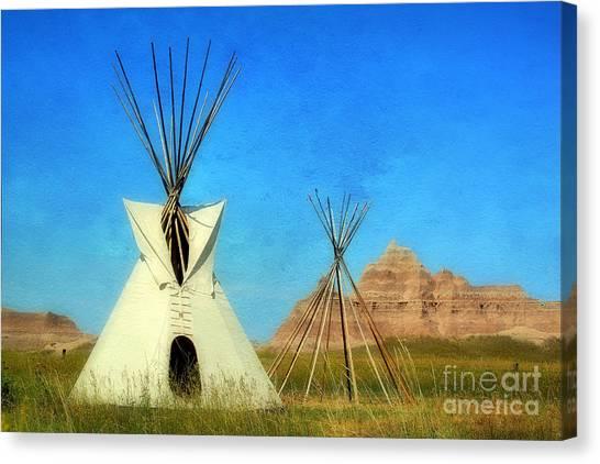 Teepee Canvas Print - Tepee In Badlands by Teresa Zieba