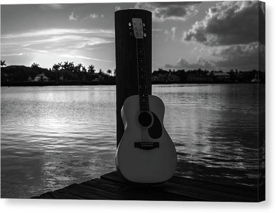 Acoustic Guitars Canvas Print - Tequila Sunrise Black And White by Laura Fasulo