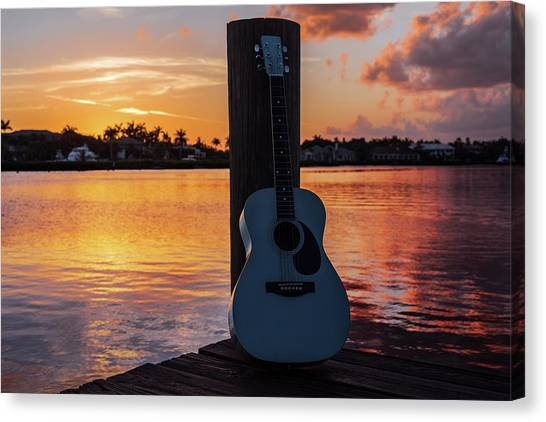 Acoustic Guitars Canvas Print - Tequila Sunrise by Laura Fasulo