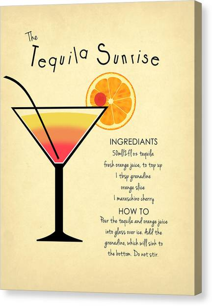 Liquor Canvas Print - Tequila Sunrise by Mark Rogan