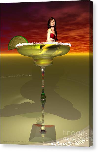 Canvas Print featuring the digital art Tequila Sunrise by Sandra Bauser Digital Art