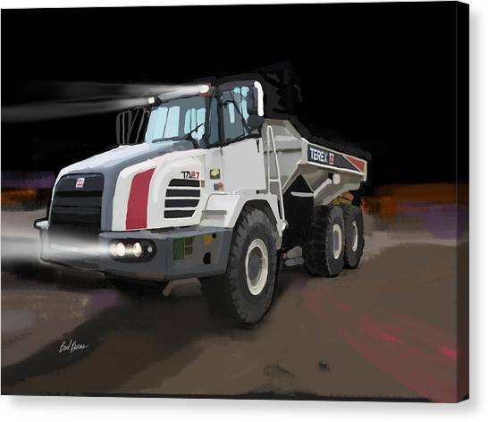 Hard Hat Canvas Print - Terex Ta27 Articulated Dump Truck by Brad Burns