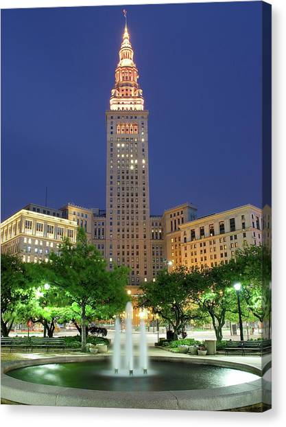 Cleveland Indians Canvas Print - Terminal Tower by Frozen in Time Fine Art Photography