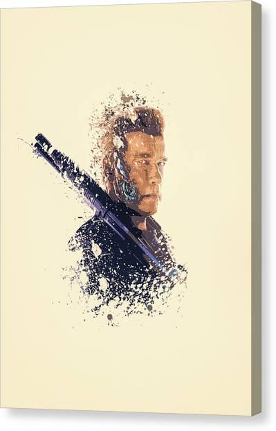 Arnold Schwarzenegger Canvas Print - Terminator Splatter Painting by MP Art