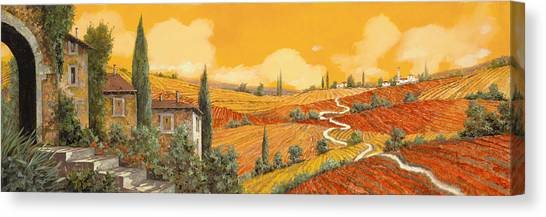 Cypress Canvas Print - terra di Siena by Guido Borelli