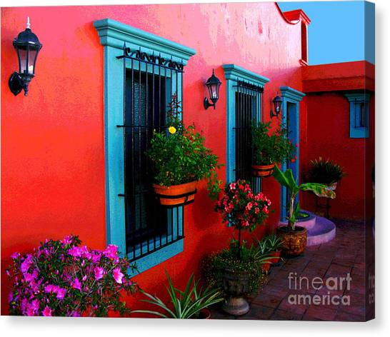 Terrace Windows At Casa De Leyendas By Darian Day Canvas Print by Mexicolors Art Photography