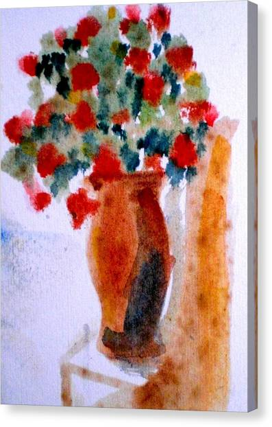 Terracotta Vase And Flowers Canvas Print by Maria Rosaria DAlessio