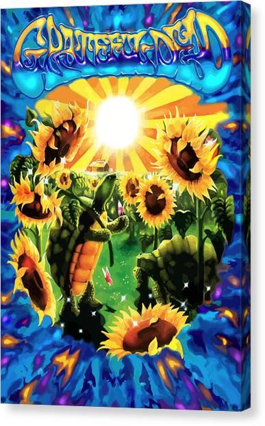 Tie-dye Canvas Print - Terrapin Sun Flowers by The Turtle