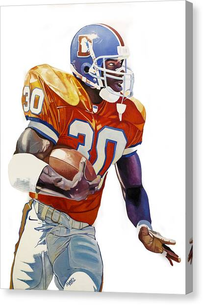John Elway Canvas Print - Terrell Davis - Denver Broncos  by Michael Pattison