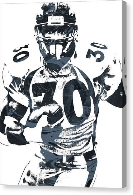 Denver Broncos Canvas Print - Terrell Davis Denver Broncos Pixel Art by Joe Hamilton