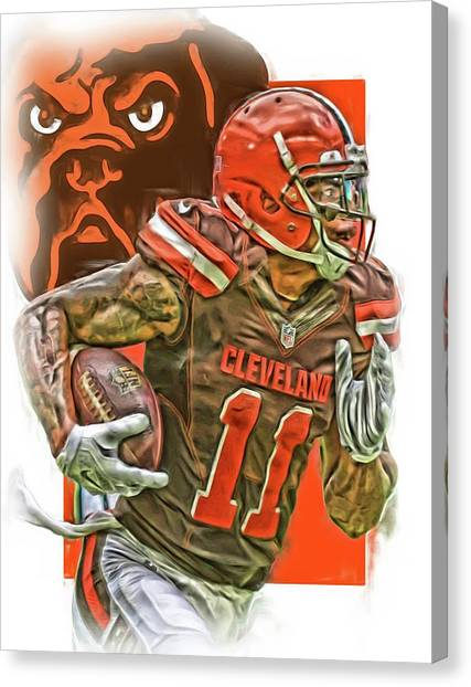 Cleveland Browns Canvas Print - Terrelle Pryor Cleveland Browns Oil Art by Joe Hamilton