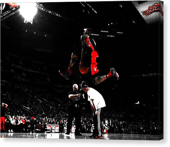 Toronto Raptors Canvas Print - Terrence Ross Taking Flight by Brian Reaves