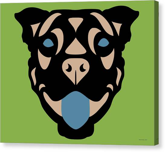 Terrier Terry - Dog Design - Greenery, Hazelnut, Niagara Blue Canvas Print